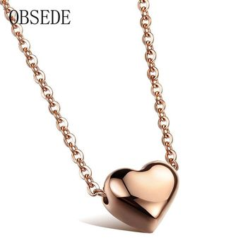OBSEDE Fashion Stainless Steel Love Heart Pendant Necklace Charm Silver & Rose Gold Color Polished For Women Jewelry Fine Gifts