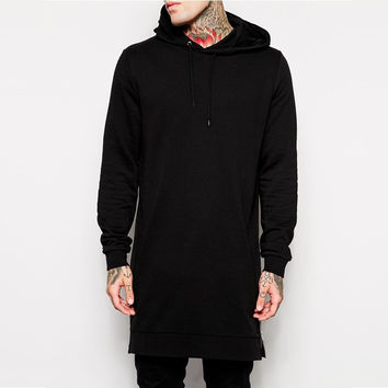 New Arrival Free Shipping Fashion Men's Long Black Hoodies Sweatshirts Tee With Side Zip Longline Hip Hop Street wear Shirt