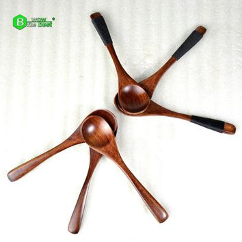 6 pcs/Lot Natural Wooden Spoons Tea Coffee Milk Spoons Creative Jam Soup Honey Stir Wood Spoon