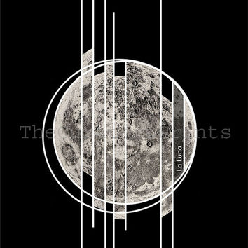 SALE 15% OFF ON Sale Geometric Poster Moon Slices Art Print Black and White