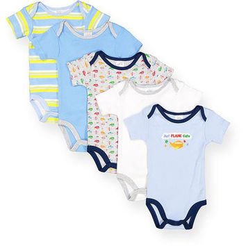 """Baby Boys' Onesuits """"Just Plane Cute """" 5-Packs - Sizes 0-12M"""