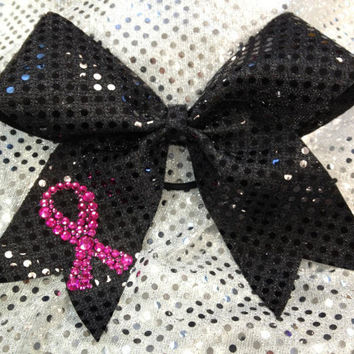 Pink & Black Breast Cancer Awareness Cheer Cheerleading/Dance Ribbon Bow