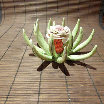 Fantastic cactus flower  (incense burner) green leaves and white flower with green and red spots (made to order)