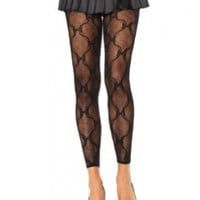 Bow lace footless tights O/S BLACK