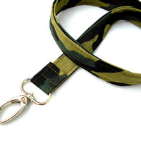 Green Camouflage Lanyard ID Badge Lanyard - Key Chain Lanyard Camo Army Military Hunting Men
