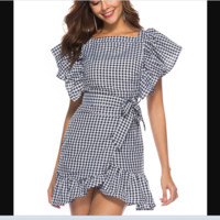 Plaid short-sleeved pleated ruffled ruffled zipper skirt for ladies