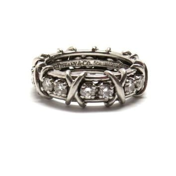 DCCKG2C Tiffany & Co. Schlumberger Sixteen Stone Platinum Diamond Ring