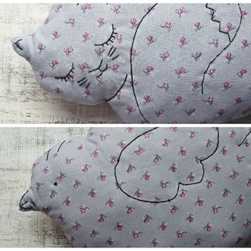 2 sides stuffed cat bird pillow nursery decor 10x14' rustic primitive animal stuffed toy baby shower gift pink grey