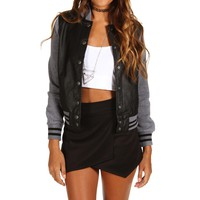 Sale-black Button Varsity Jacket