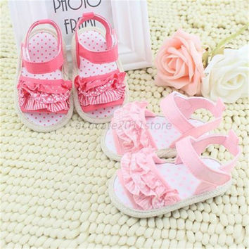 Princess Girl Summer Infant Baby Lace Soft Sole Non-slip Crib First Walkers Shoes