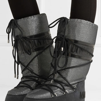 Moncler - + Moon Boot Saturne metallic shell and nubuck snow boots