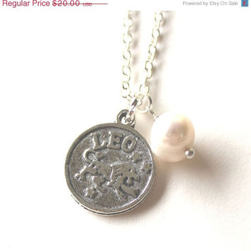 VALENTINES DAY SALE Leo astrology zodiac star sign horoscope charm and white pearl silver necklace