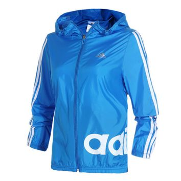 """Adidas"" Fashion Hooded Zipper Cardigan Jacket Windbreaker"