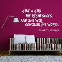 Wall Decals Quotes Vinyl Sticker Decal Quote Marilyn Monroe GIVE A GIRL THE RIGHT SHOES Phrase Home Decor Bedroom Art Design Interior NS64