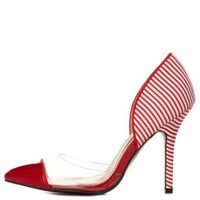 Striped Lucite Cap-Toe Pumps by