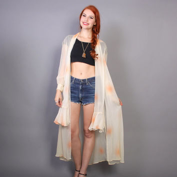 70s Sheer DUSTER JACKET / Ethereal Peaches & Cream Draped Cardi