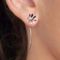 925 sterling silver earrings studs - unique long stem flower earrings, Jewelry gift for girlfriend 091912