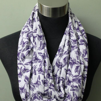 Light Knit, Purple Butterfly Infinity Scarf