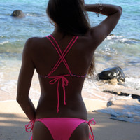 Double Cross Back Bikini Top Bright Pink With Braid