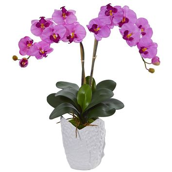 Artificial Flowers -Double Phalaenopsis Orchid Arrangement In White Vase No2