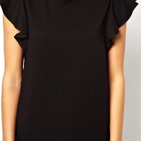 ASOS T-Shirt with Frill Sleeve - Nude $13.33