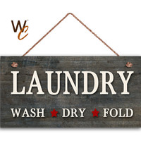 "Laundry Sign, Dark Distressed Wood Style, Wall Art, Cleaning Sign, Laundry Room, Weatherproof, 5"" x 10"" Sign, Made To Order"