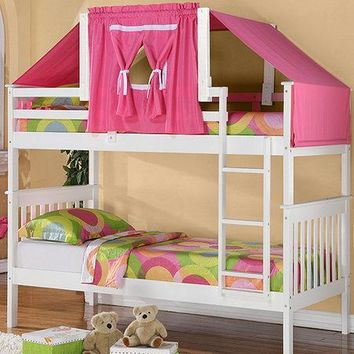 Reagan White Bunk Bed with Pink Tent