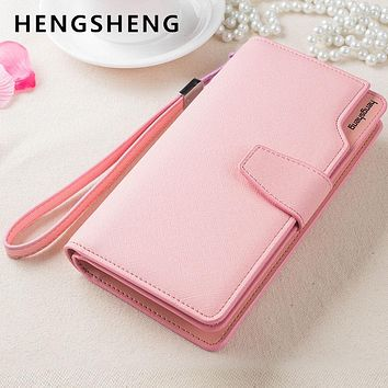 HENGSHENG Sweet Women Hasp Leather Wallet Fashion Brand Female Purse with Phone Pocket Card Holder For Women Girl Lady