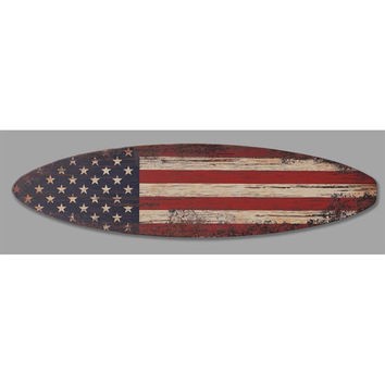 5ft American Flag Surfboard Sign Man Cave or Bar Signage - USA Patriotic Red White Blue Wood Decorative Plaque - Wall Art Home Decor (8547)