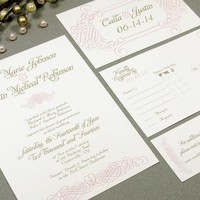 Elegant Romance | Wedding Invitation Suite by RunkPock Designs | Vintage inspired swirl frame design with script calligraphy | shown in gold and blush pink on ivory