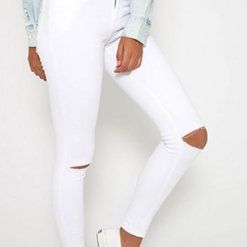 Makiah Slit Knees Jeans