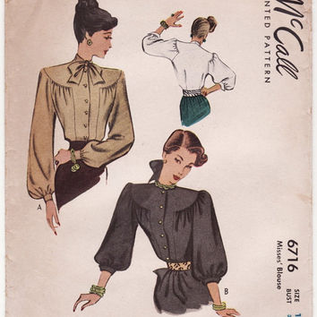 McCall 6716 Vintage Sewing Pattern 1940s WWII Fashion Long Puff Sleeve Blouse Blouson Shirt Bust 30