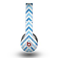 The Vintage Blue Striped Chevron Pattern V4 Skin for the Beats by Dre Original Solo-Solo HD Headphones