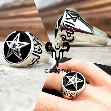 Star islamic engraved sterling silver mens ring