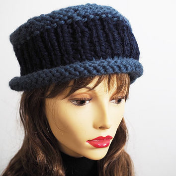 Handmade Knit Hat, Fedora, Navy Blue and Denim Blue Hat, Roll Brim, Woman's Hat, Crochet Hat, Blue Hat, Wool Blend, Chunky Knit, Fedora