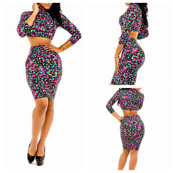 Geometric Print Long Sleeve Cropped Top and High Waisted Pencil Midi Skirt