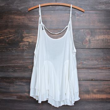 uneven hem open back women's tank - ivory