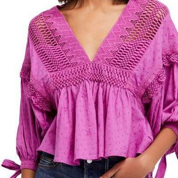 FREE PEOPLE Drive You Mad Blouse Purple $110