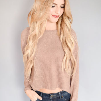 Chloe Knit Crop Sweater Mocha