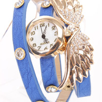 Royal Blue Wings Pendant Rhinestone Decor Stylish Watch