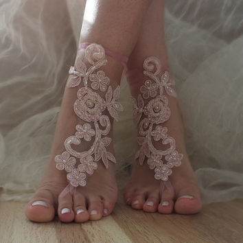 pink barefoot sandals,  pink embroidered with pearls lace sandals bridal lace anklet Beach wedding barefoot sandals,bridal accesories