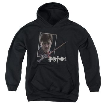 Harry Potter - Harry's Wand Portrait Youth Pull Over Hoodie