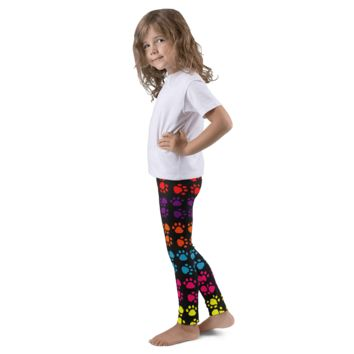 Rainbow Paw Print Kid's Leggings By Little Pit Shop