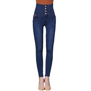 [15105] Four Button High Waist Skinny Jeans