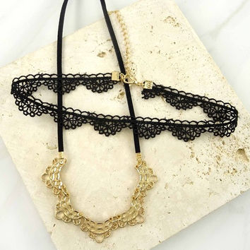 Half Moon & Black Crochet Lace Choker Necklaces