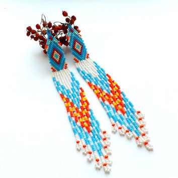 Extralong Earrings-Dangle Seed Bead Earrings Wint Fringe-Extra Long Delica Earrings-Blue White Long Beadwoven Earrings Ethnic Pattern