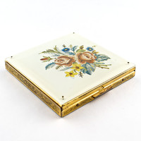 Fifth Avenue Rex Powder Compact with Rose Floral Design Lucite Cover, Gold Metal Scroll Base