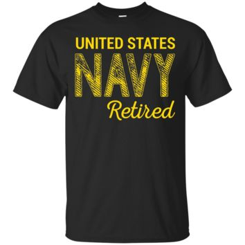 United States Navy Retired Faded Grunge T-Shirt_Black