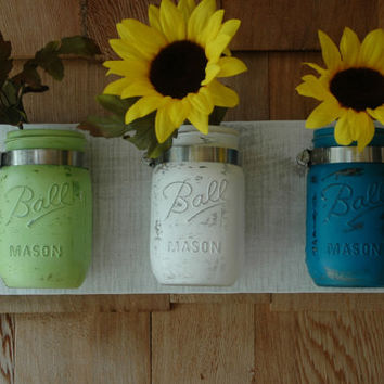 Beach Day Wall Decor Painted Mason Jars trio on whitewashed recycled board bedroom kitchen bathroom decor