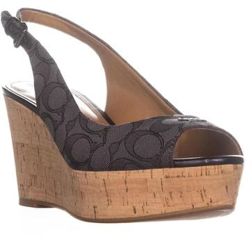 Coach Ferry Peep Toe Slingback Espadrille Wedge Sandals, Black Smoke/Black, 9.5 US